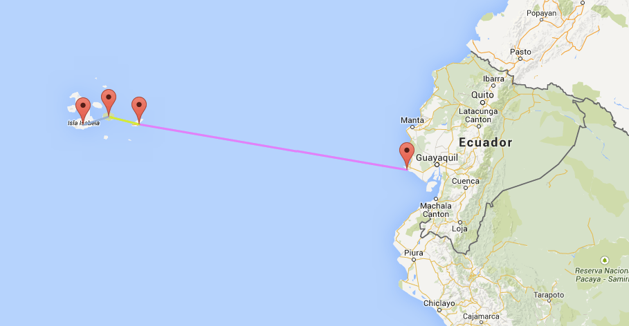 Die Strecke über 1165km von La Libertad (Festland) nach Galapagos